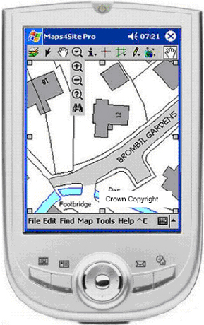 Maps4Site on a standard PDA