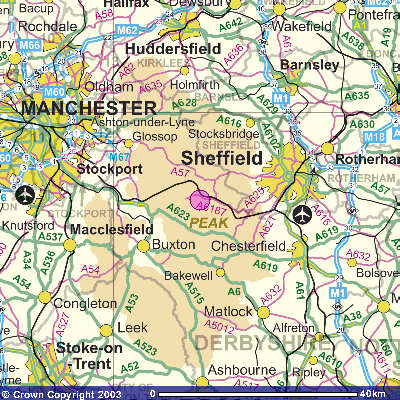 Map of CDR in relation to Manchester and Sheffield